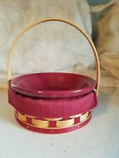 Longaberger Small Pie Basket,W/Liner,and Small Pottery Pie Dish