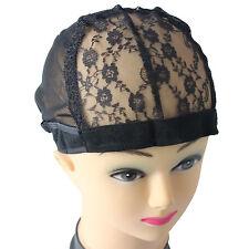 J20 Weaving Wig Cap Rose Lace Mesh Base Machine Made Stretchy Net Medium Black