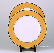 Set of 2 Dinner Plates, MINT / NEW Condition! Pagnossin, Spa Orange, Green Trim