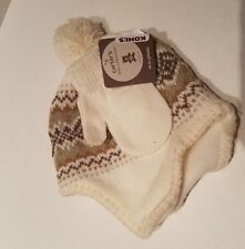 08c98a39fd4 Toddler Girls Carters Brand Little Collection Ivory Knit Hat   Mittens 2T-4T