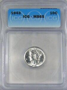 BU GEM 1943 Silver Mercury Dime ICG MS65 - Blast White! #11
