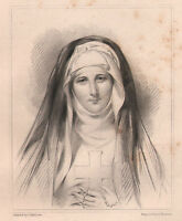 1834 con Fecha Georgiano Estampado ~ Jane Porter Mujer Canoness Con Facsimilie