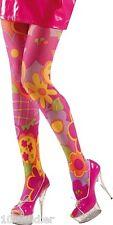 Collant Fantaisie FLEURS Rose XL Déguisement Adulte Femme Costume HIPPIE