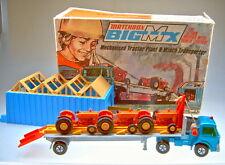 Matchbox BIG-MX Set 2 Traktorenfabrik mit 3 ORANGEN No.39 Tractoren