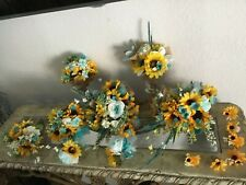 Wedding flowers bridal decorations bouquet turquoise sunflowers package 30 pc.