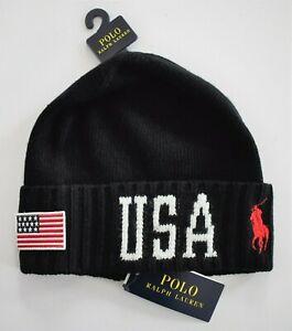 New POLO RALPH LAUREN USA FLAG BIG PONY Black WOOL Knit CUFFED BEANIE Hat OS