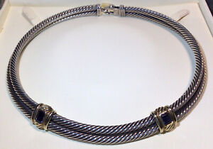 Authentic $1200 DAVID YURMAN Double Cable 14k Gold 925 Iolite Necklace Choker