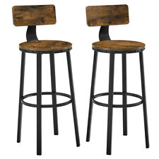 Set of 2 Tall Bar Stools, Bar Chairs with Backrest, Kitchen Stools, Breakfast