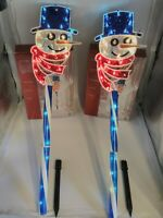"""(2) 28"""" Enchanted Forest - Twinkling Holographic Snowman Stakes-35 mini lights"""