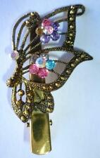 Butterfly Multi Color Alligator Clip Crystal Rhinestone Barrette Antique Gold.