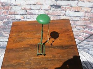Vintage Metal Hat Stand with Spring and Cord For High Shelf Storage Green Paint