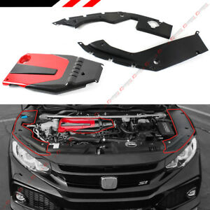 FOR 2016-19 HONDA CIVIC JDM RED BLK TYPE-R STYLE ENGINE COVER + SIDE PANEL COVER