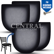 Restaurant Chair Cushion Seat Replacement for Metal Chairs, SET OF 4 BLACK VINYL