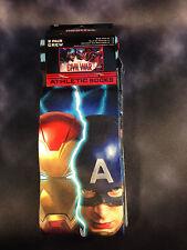 Men's Crew Socks Socks Captain America Iron Man MARVEL Shoe Size 6-12 (2 PAIRS)
