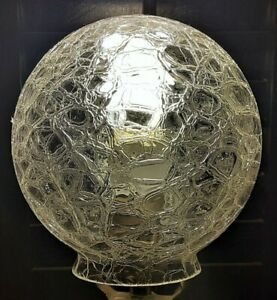 Vintage French Vianne Round Clear Crackle Cracked Glass Globe Light Cover France
