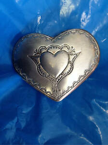 Small Silver Plated Heart Stamped Belt Buckle