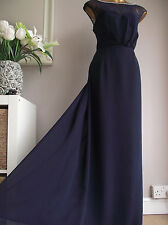 MONSOON NAVY BLUE IVORY PEARL BEADED LACE PANEL MAXI DRESS PROM BALL GOWN 14