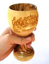 Chalice goblet Olive Wood Laser carved Last supper image Holyland Bethlehem