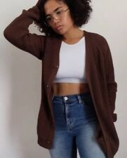 American Apparel Fisherman Cardigan Jacket Thick Cable Knit Sweater Brown XS
