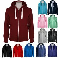 NEW WOMENS LADIES PLAIN ZIP HOODIE SWEATSHIRT FLEECE HOODED JACKET SIZES 8-16