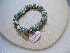 "Caroline Heart Floral Beaded Bracelet, Youth, 5.5"", Stretch, Clay-Like Beads"