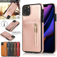 For Apple iPhone 11 Pro MAX Luxury Leather Zip Back Wallet Flip Case Cover SYD