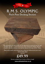 """Genuine Original 1911 RMS OLYMPIC / TITANIC Pitch Pine Decking 6"""" Section"""