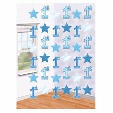6 BLUE 1ST HANGING STRING DECORATIONS BOYS FIRST BIRTHDAY PARTY STRINGS STARS