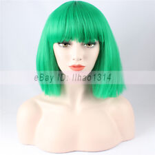 3-7 Day Delivery Green Christmas BOB Wigs Full Neat Fringes Straight Synthetic