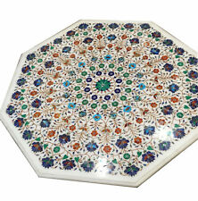 "42"" Marble Sofa Center Semi Precious Stones Inlay Handmade Work Table Top"