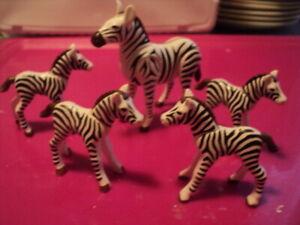 PLAYMOBIL LOT 5 ZEBRES 1 ADULTE + 4 ZEBRONS zoo arche de noé savane afrique