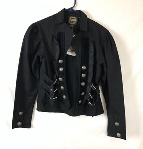 Funhouse Victorian Goth Jacket Steampunk Buckle Jacket Size Small Puff Sleeve