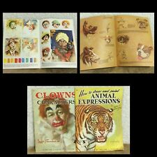 VTG 2 Art Books Clowns Characters Leon Franks Animal Expressions Walter Foster