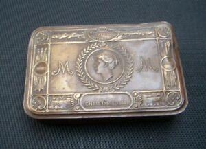 Original WWI 1914 Princess Mary Tin Brass Tobacco/ Chocolate Christmas Gift Tin