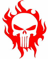 """PUNISHER SKULL ON FLAMES Decal  Sticker 5"""" x 4"""" buy 2 get 1 free"""