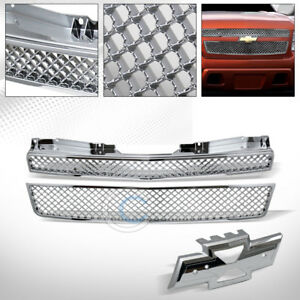 Fit 07-14 Chevy Tahoe/Suburban/Avalanche Chrome Mesh Front Bumper Grille ABS 2PC