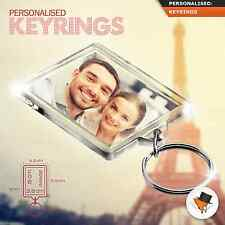 PERSONALISED PHOTO KEYRING CUSTOM GIFT 50mm x 35mm 2 SIDED ACRYLIC LARGE SIZE !