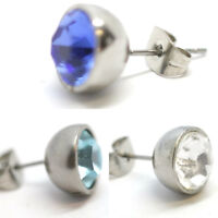 Ear Studs Earrings Hypo Allergenic CZ Crystal 10mm Pair