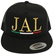 JALISCO MEXICO HAT WITH 2 LOGOS  MESH TRUCKER COLOR  BLACK SNAP BACK FLAT BUILD