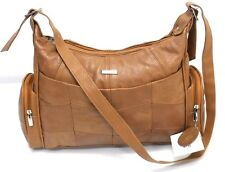 Womens Cow Hide Genuine Real Leather Lorenz  Organizer Shoulder Handbag Tan UK
