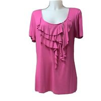 Women's Cable and Gauge (H) top Size XL Ruffle Front Blouse Hot Pink Fushia