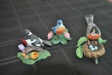 Vintage Lenox Porcelain Bird Figurines Lot of 3 Grosbeak American Robin Bluebird