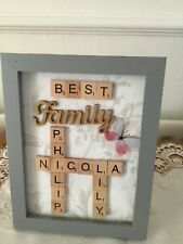 Personalised Hand Crafted Scrabble Art Family Grey frame