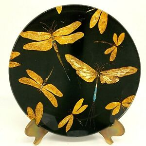"""Dragonfly Black and Gold 8"""" Decorative Display Glass Plate"""