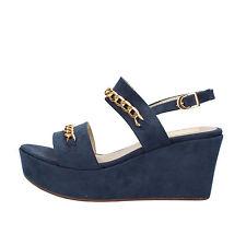scarpe donna OLGA RUBINI 37 EU sandali blu camoscio AF790-B
