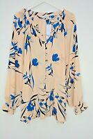 New Ex Evans Blush+Blue Floral Print Button Up Blouse Shirt Plus Size 24- 28