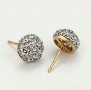"""9k 9ct Yellow & White""""GOLD FILLED""""10mm Half Cut Ball stud Earrings Zircons Pouch"""