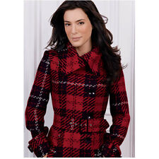 Jaime Murray in Red Plaid Coat Hair Softly Curled Slight Smile 8 x 10 inch photo
