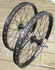 """Wheel Set 20"""" BMX Park 3/8 Front 3/8 Flip Flop Rear Double Walled Rims New"""