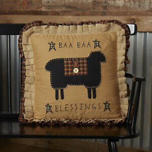 """VHC Brands Primitive 18""""x18"""" Baa Blessings Pillow Yellow Appliqued Bedroom Decor"""